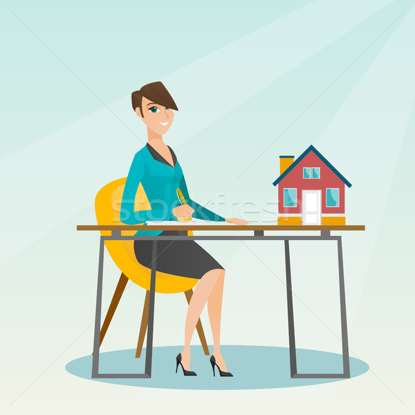 Agent immobilier signature maison acheter contrat séance Photo stock © RAStudio