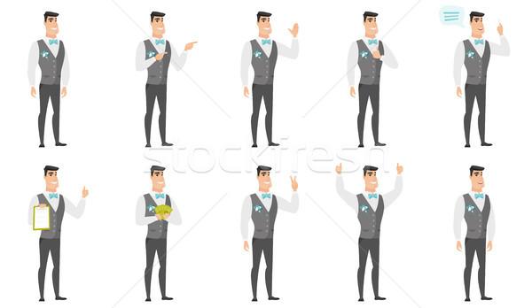 Vector set of illustrations with groom character. Stock photo © RAStudio