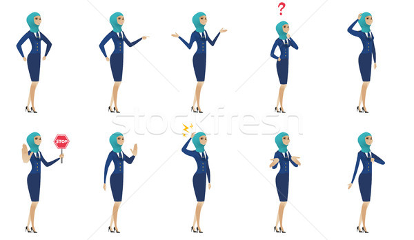 Stock photo: Young muslim stewardess vector illustrations set.
