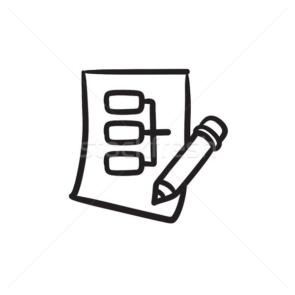 Paper sheet with system parts sketch icon. Stock photo © RAStudio