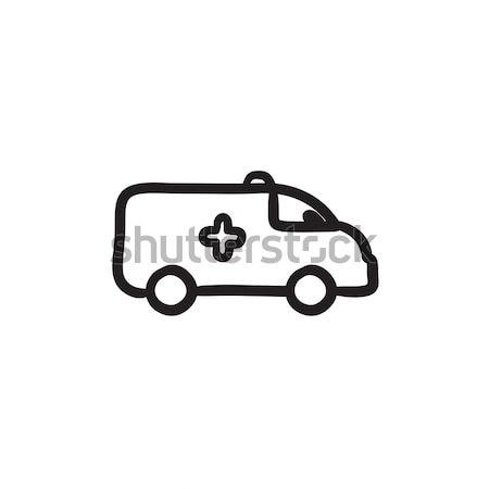 Ambulância carro esboço ícone vetor isolado Foto stock © RAStudio