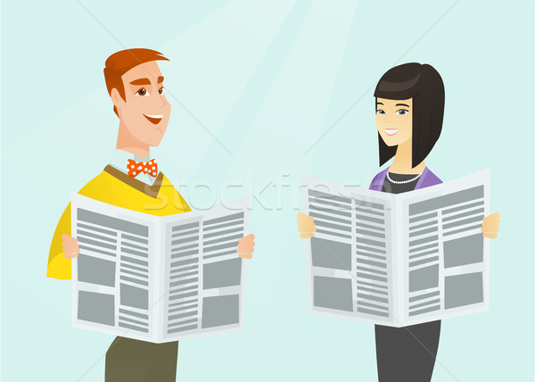 Asian woman and Caucasian man reading newspapers. Stock photo © RAStudio