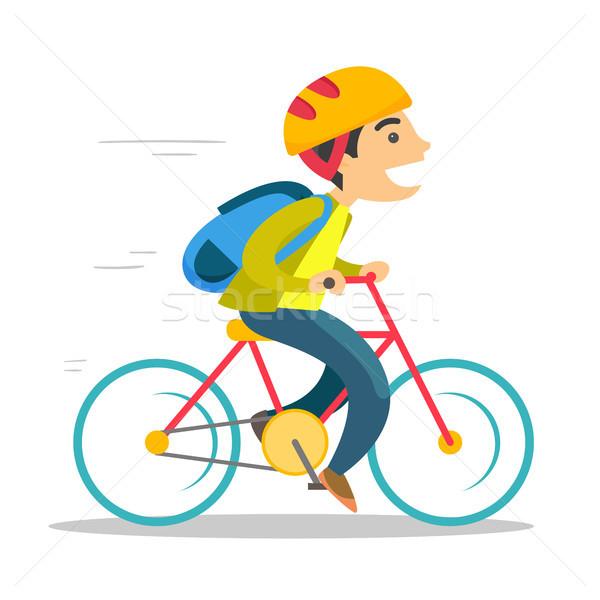 Stockfoto: Jonge · kaukasisch · witte · jongen · paardrijden · fiets