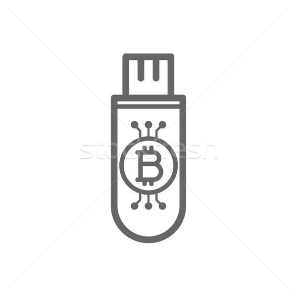 Bitcoin zimno przechowywania flash drive kluczowych line Zdjęcia stock © RAStudio