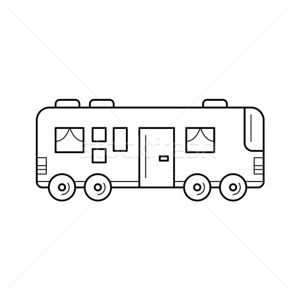 Reizen bus lijn icon vector geïsoleerd Stockfoto © RAStudio