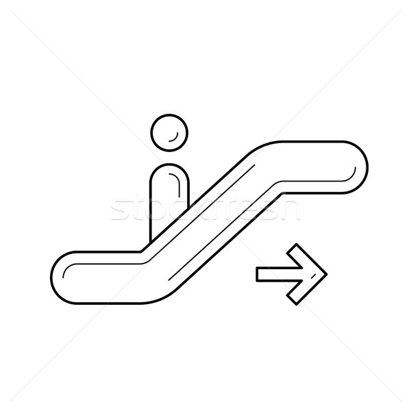 Moving staircase line icon. Stock photo © RAStudio