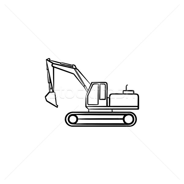 Excavator hand drawn sketch icon. Stock photo © RAStudio
