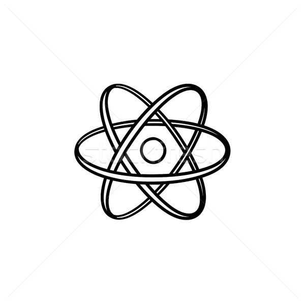 Foto stock: Eletrônico · átomo · esboço · ícone