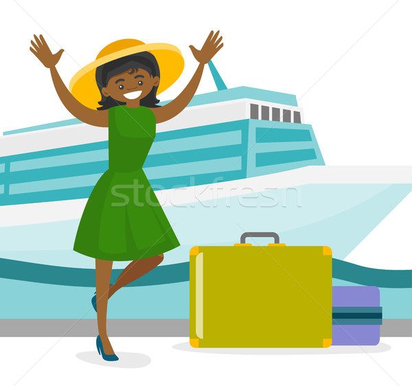 Tourist goes to the cruise liner with a suitcase. Stock photo © RAStudio