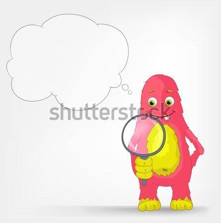 Stock foto: Funny · Monster · Suche · Zeichentrickfigur · isoliert · grau