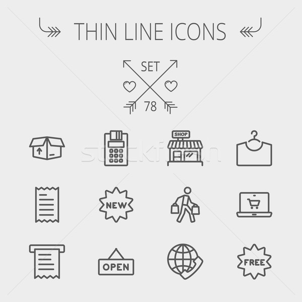 Stock photo: Business shopping thin line icon set