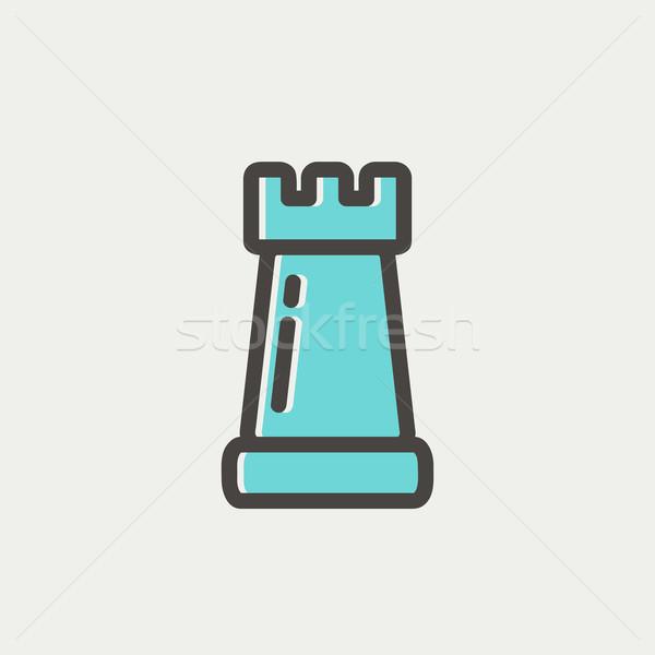 Sakk vékony vonal ikon háló mobil Stock fotó © RAStudio