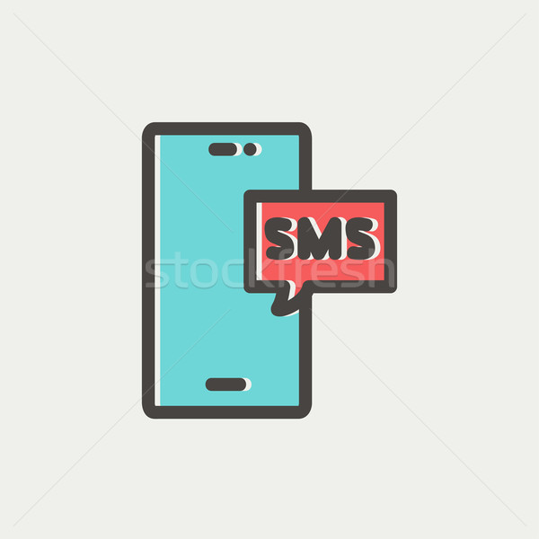Mobile phone with SMS can receive and send messages thin line icon Stock photo © RAStudio