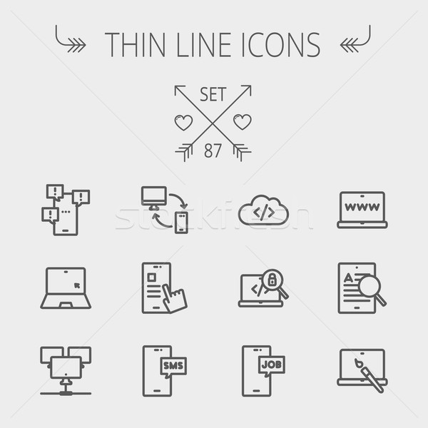 Technology thin line icon set Stock photo © RAStudio