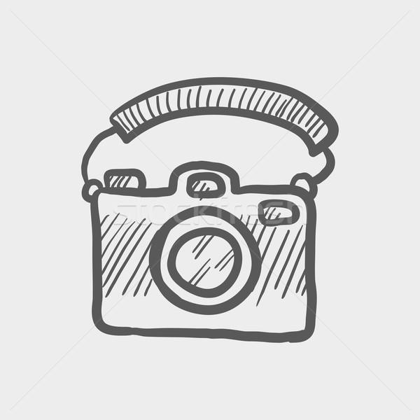 Camera with handle sketch icon Stock photo © RAStudio