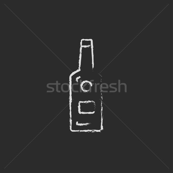 Photo stock: Verre · bouteille · icône · craie · dessinés · à · la · main