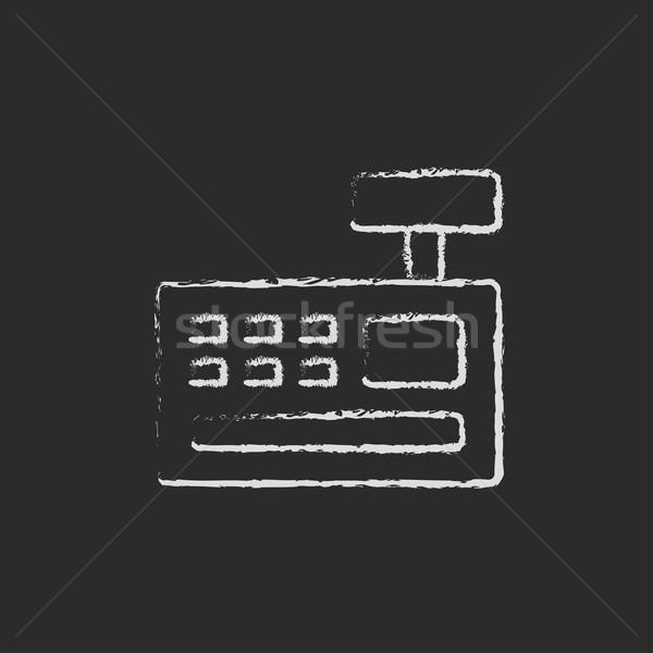 Caixa registradora máquina ícone giz Foto stock © RAStudio
