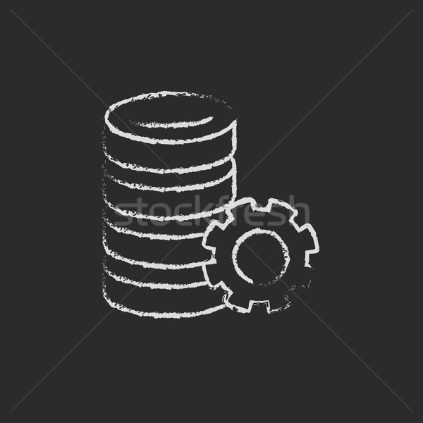 Server with gear icon drawn in chalk. Stock photo © RAStudio