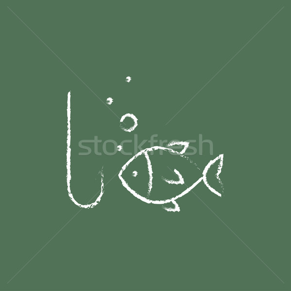 Fish with hook icon drawn in chalk. Stock photo © RAStudio