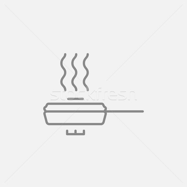 Frying pan with cover line icon. Stock photo © RAStudio