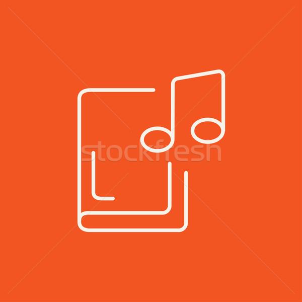 Audio książki line ikona internetowych komórkowych Zdjęcia stock © RAStudio