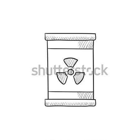 Barrel with ionizing radiation sign line icon. Stock photo © RAStudio