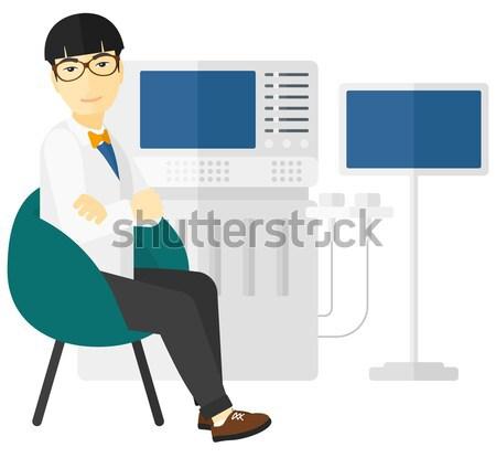 Mężczyzna ultradźwięk specjalista wyposażenie wektora projektu Zdjęcia stock © RAStudio