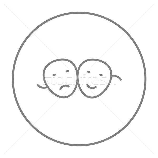 Stock photo: Two theatrical masks line icon.