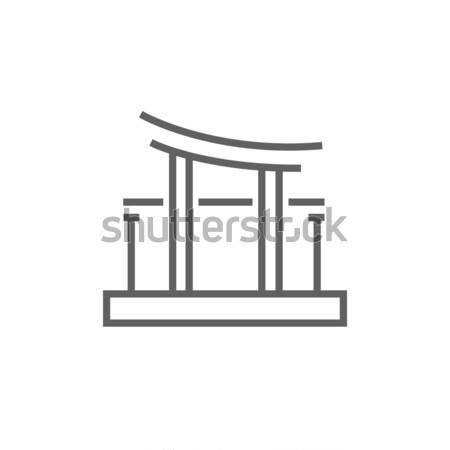 Portão linha ícone teia móvel infográficos Foto stock © RAStudio
