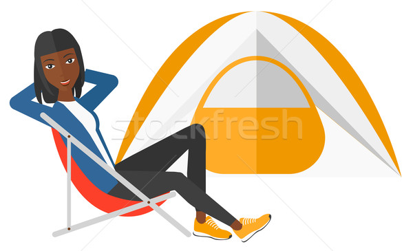 женщину сидят Председатель вектора дизайна Сток-фото © RAStudio