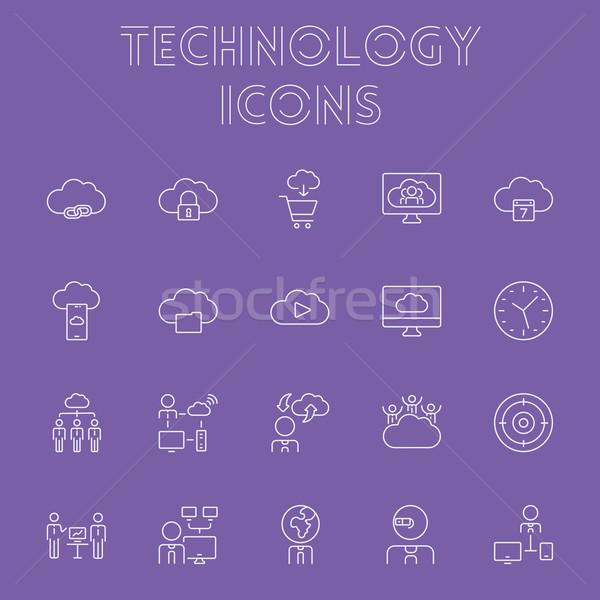 Stock fotó: Technológia · ikon · gyűjtemény · vektor · fény · lila · ikon