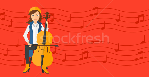 女性 演奏 チェロ 赤 音符 ベクトル ストックフォト © RAStudio