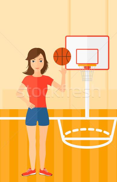 Kosárlabdázó labda nő kosárlabda ujj kosárlabdapálya Stock fotó © RAStudio