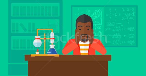 Człowiek rozpacz głowie chemia laboratorium wektora Zdjęcia stock © RAStudio