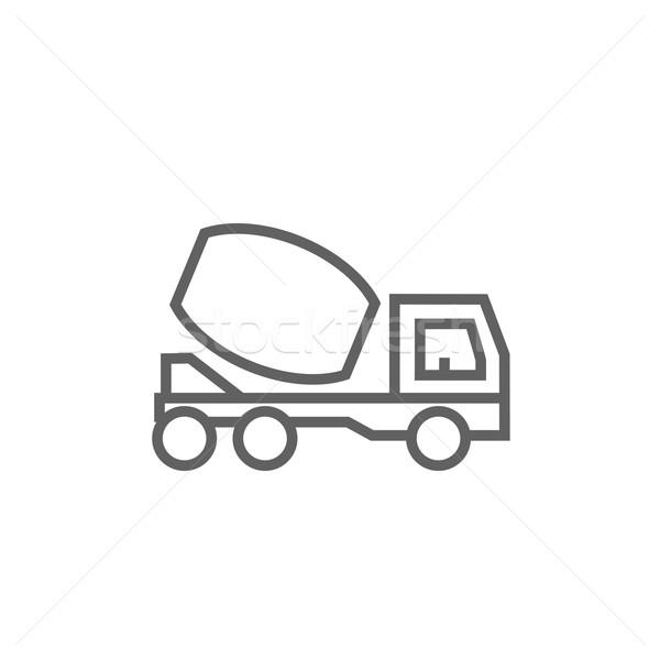 Beton mixer vrachtwagen lijn icon hoeken Stockfoto © RAStudio