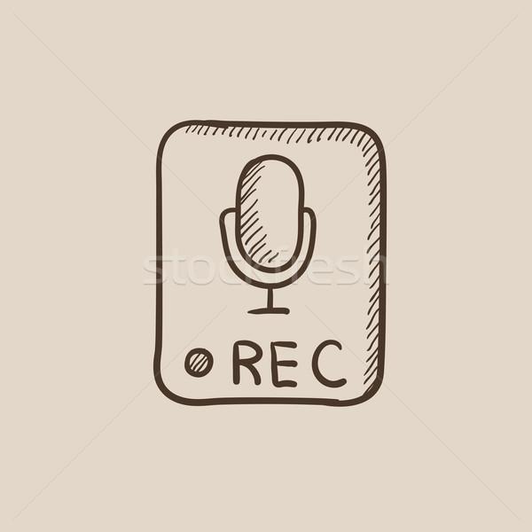 запись кнопки эскиз икона веб мобильных Сток-фото © RAStudio