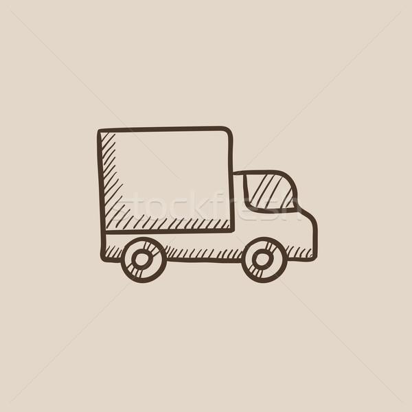 Kisteherautó rajz ikon háló mobil infografika Stock fotó © RAStudio