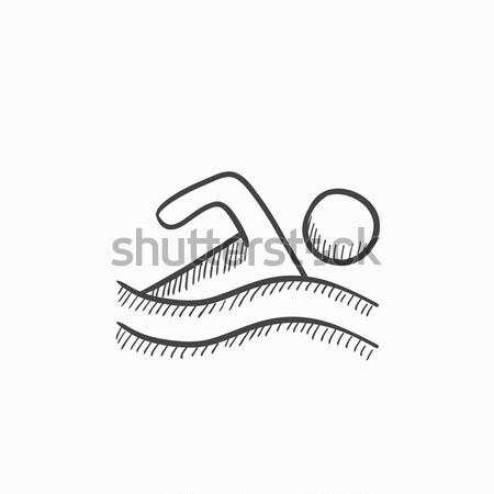 スイマー スケッチ アイコン ウェブ 携帯 インフォグラフィック ストックフォト © RAStudio