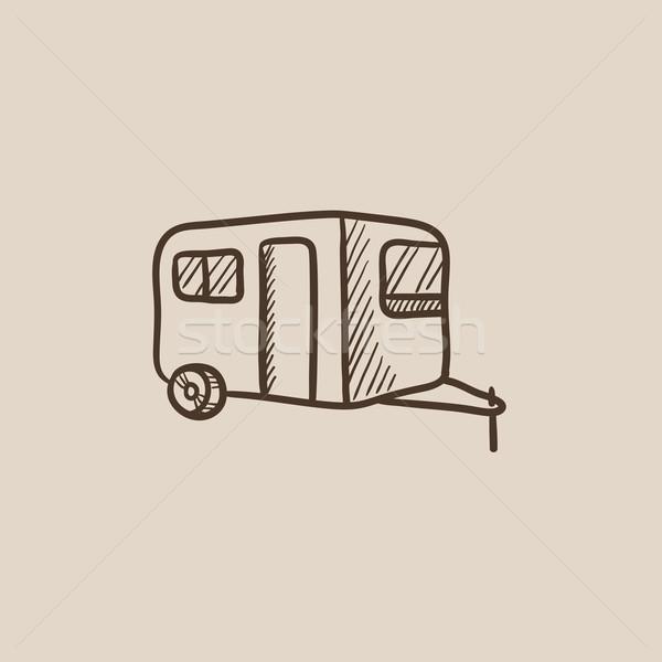 Caravana esboço ícone teia móvel infográficos Foto stock © RAStudio