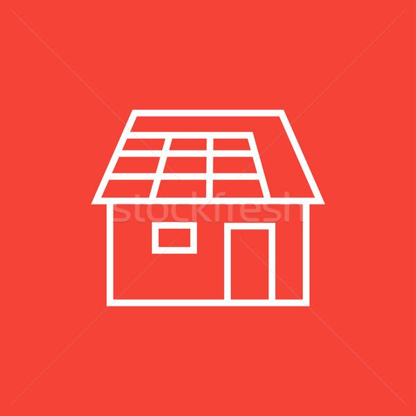 Ház napelem vonal ikon sarkok háló Stock fotó © RAStudio
