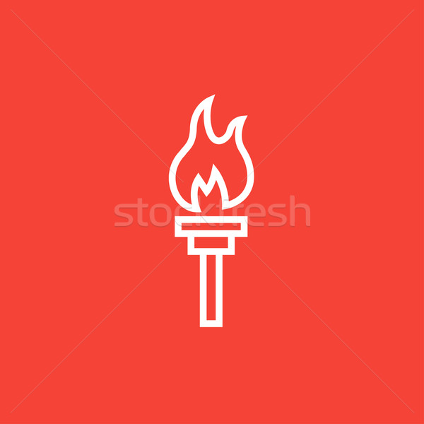 Burning olympic torch line icon. Stock photo © RAStudio