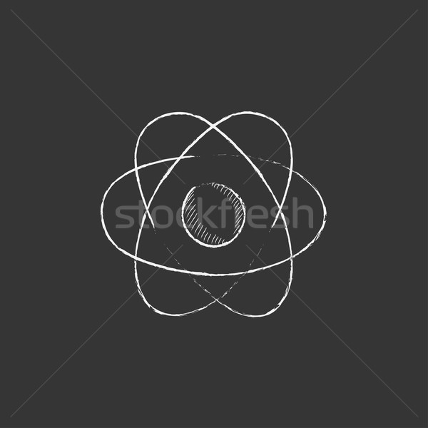 Atom. Drawn in chalk icon. Stock photo © RAStudio