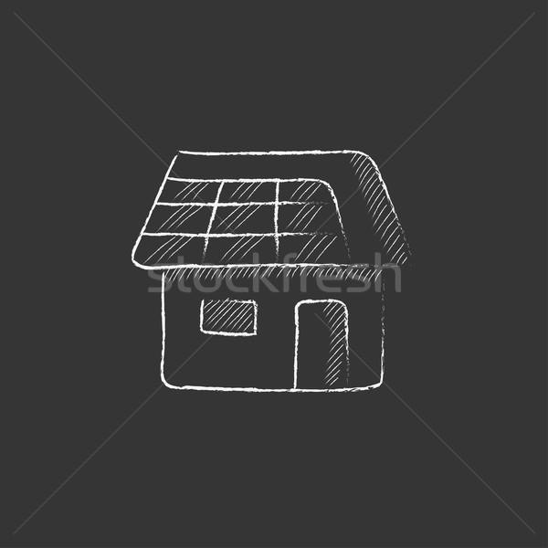 House with solar panel. Drawn in chalk icon. Stock photo © RAStudio