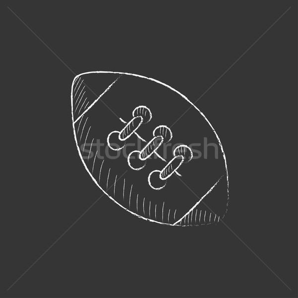 Rugby football ball. Drawn in chalk icon. Stock photo © RAStudio