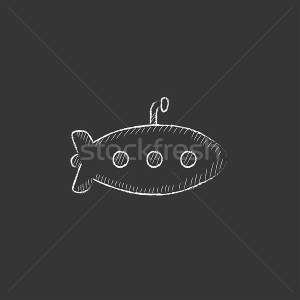 Tengeralattjáró rajzolt kréta ikon kézzel rajzolt vektor Stock fotó © RAStudio