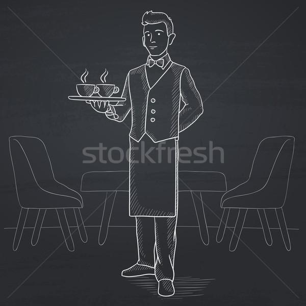 Waiter holding tray with beverages. Stock photo © RAStudio
