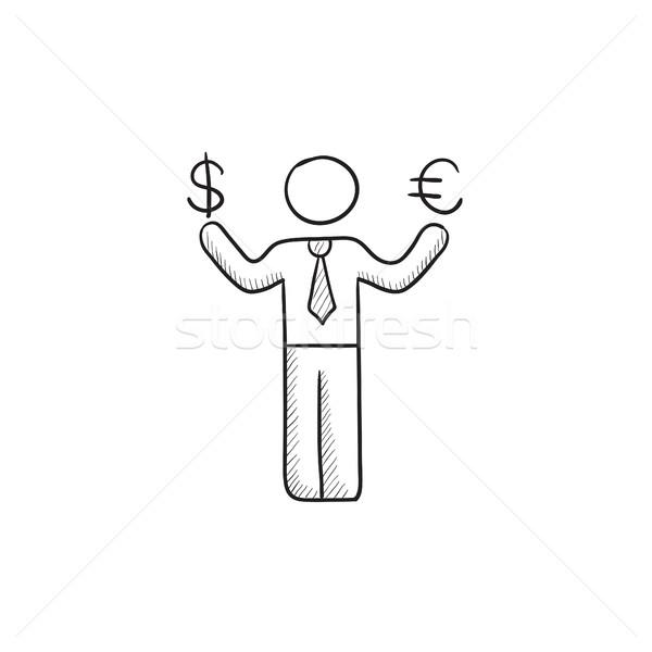 Сток-фото: бизнесмен · евро · доллара · эскиз · икона