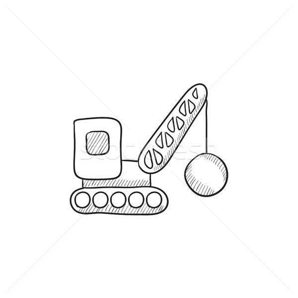 Demolizione gru sketch icona vettore isolato Foto d'archivio © RAStudio
