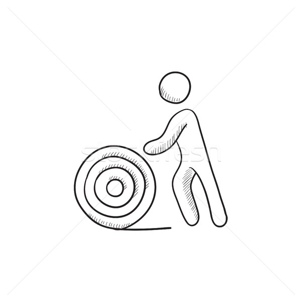 男 線 スプール スケッチ アイコン ベクトル ストックフォト © RAStudio