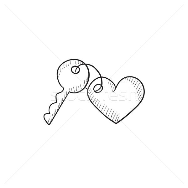 Trinket for keys as heart sketch icon. Stock photo © RAStudio
